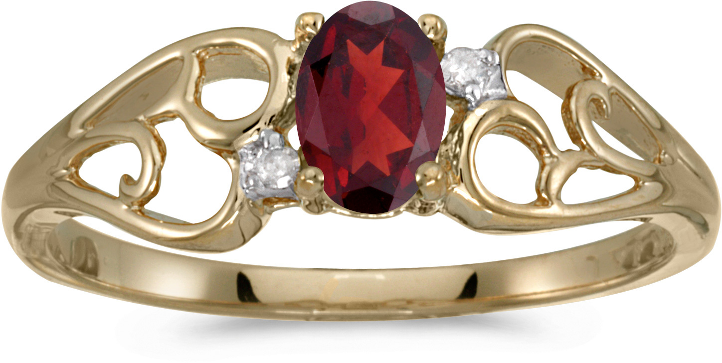 14k Yellow Gold Oval Garnet And Diamond Ring (CM-RM2582X-01)