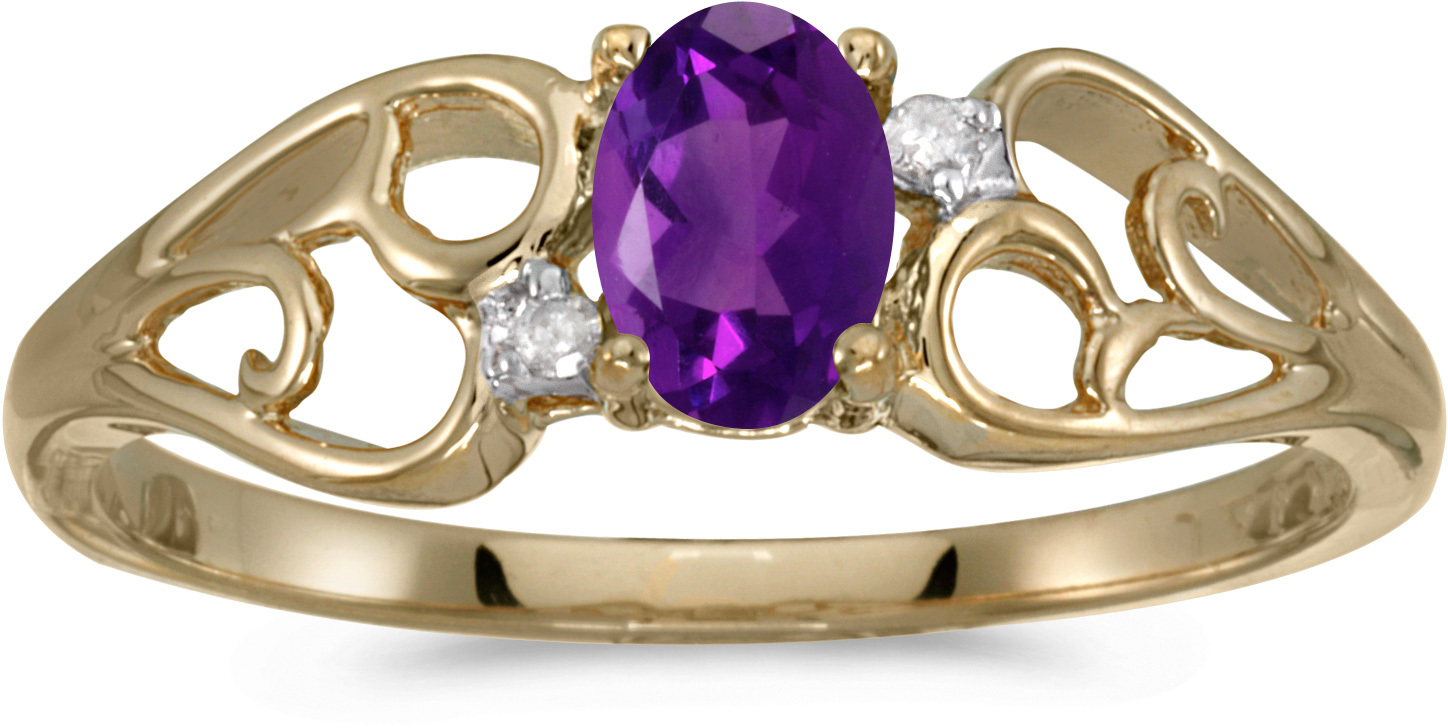 14k Yellow Gold Oval Amethyst And Diamond Ring (CM-RM2582X-02)