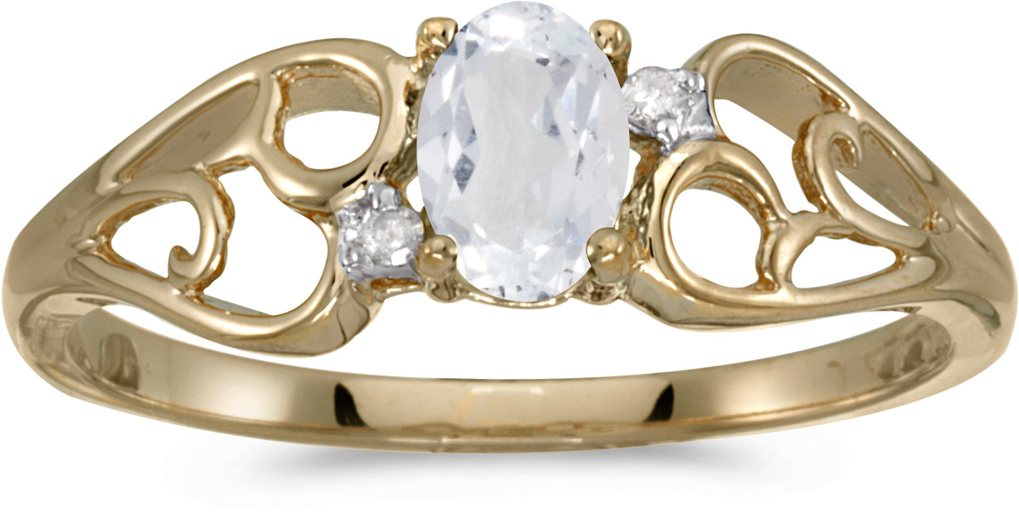 14k Yellow Gold Oval White Topaz And Diamond Ring (CM-RM2582X-04)