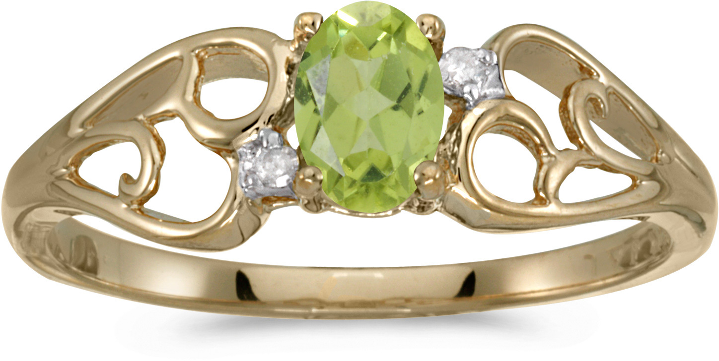 14k Yellow Gold Oval Peridot And Diamond Ring (CM-RM2582X-08)
