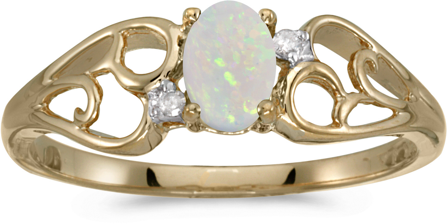 14k Yellow Gold Oval Opal And Diamond Ring (CM-RM2582X-10)