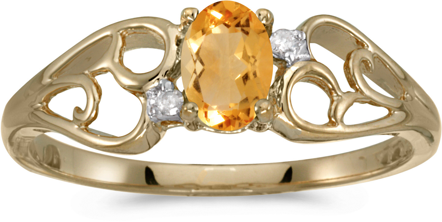 14k Yellow Gold Oval Citrine And Diamond Ring (CM-RM2582X-11)
