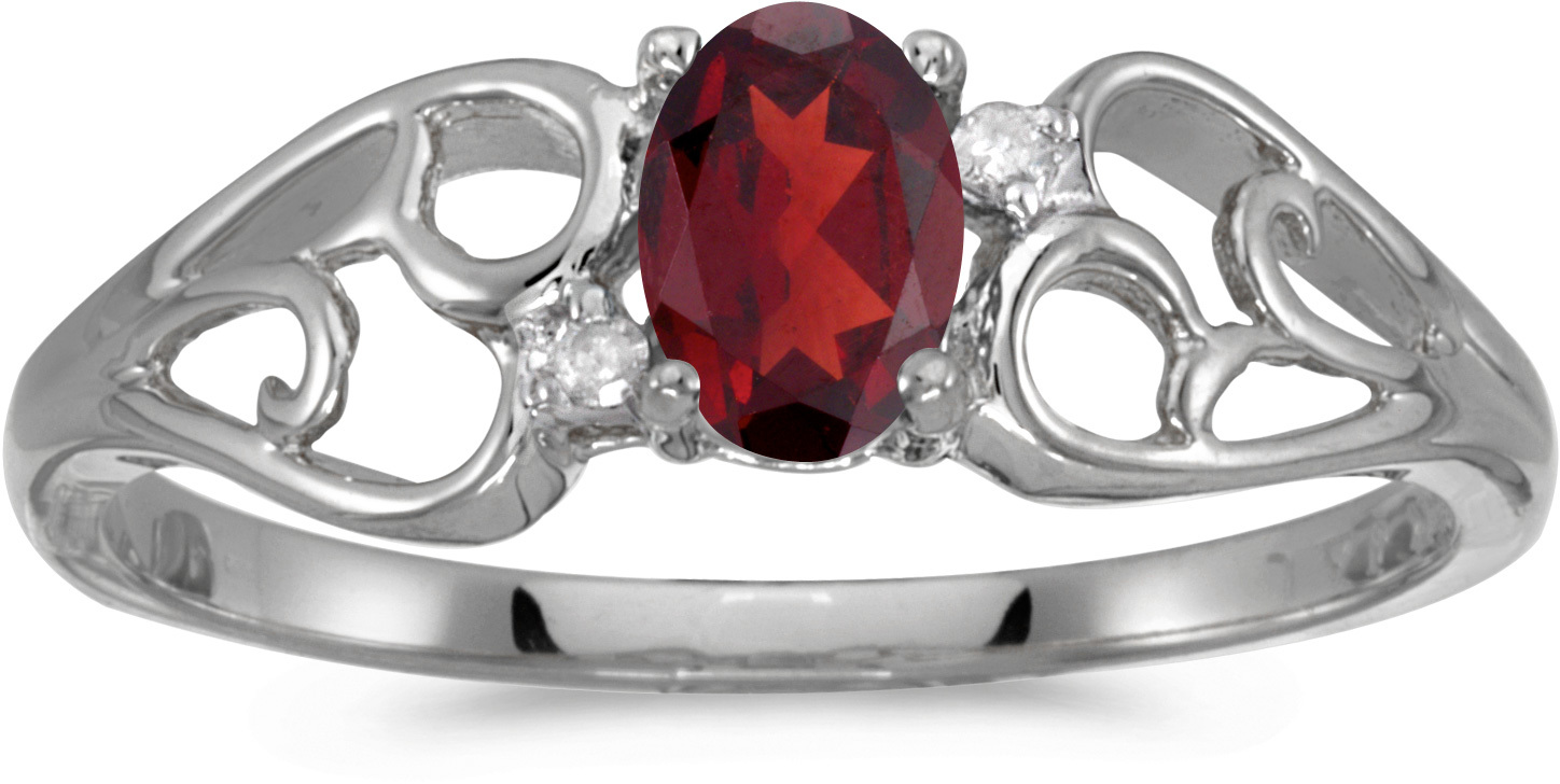 14k White Gold Oval Garnet And Diamond Ring (CM-RM2582XW-01)
