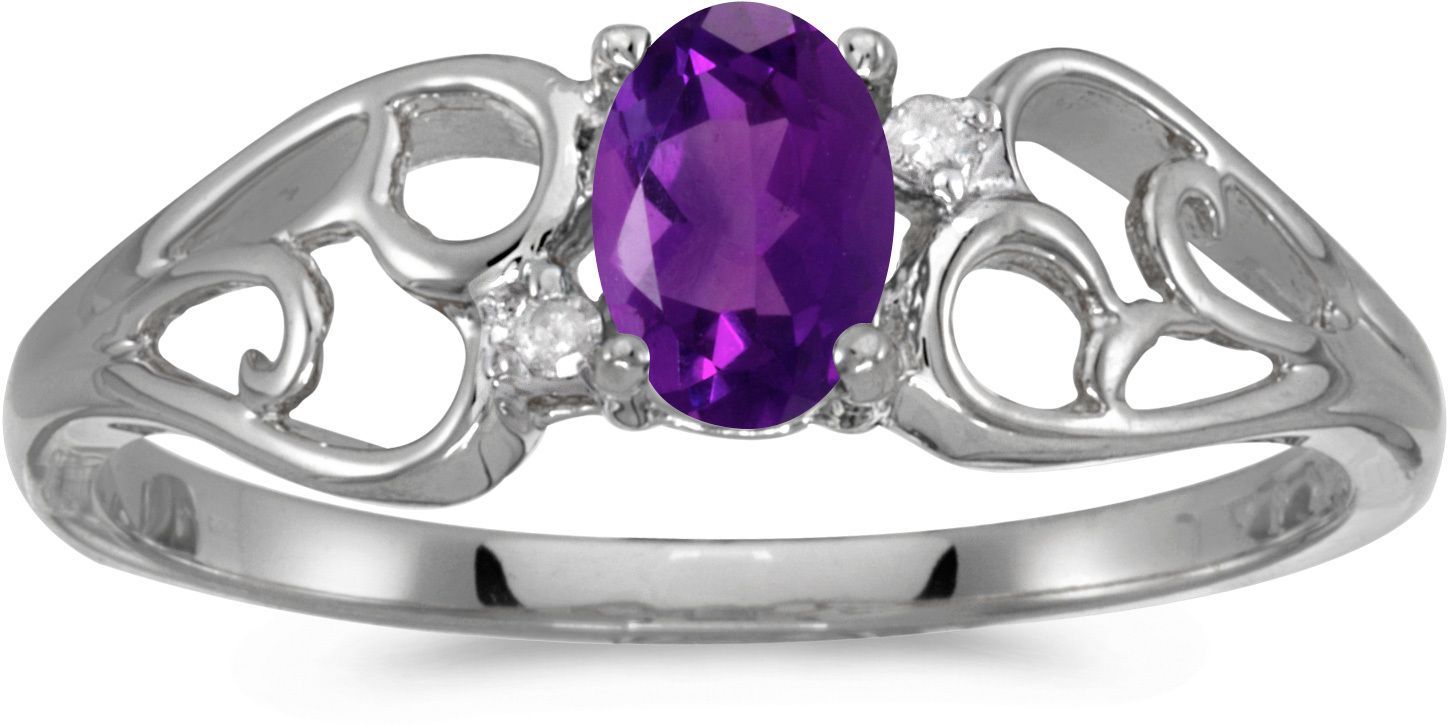 14k White Gold Oval Amethyst And Diamond Ring (CM-RM2582XW-02)