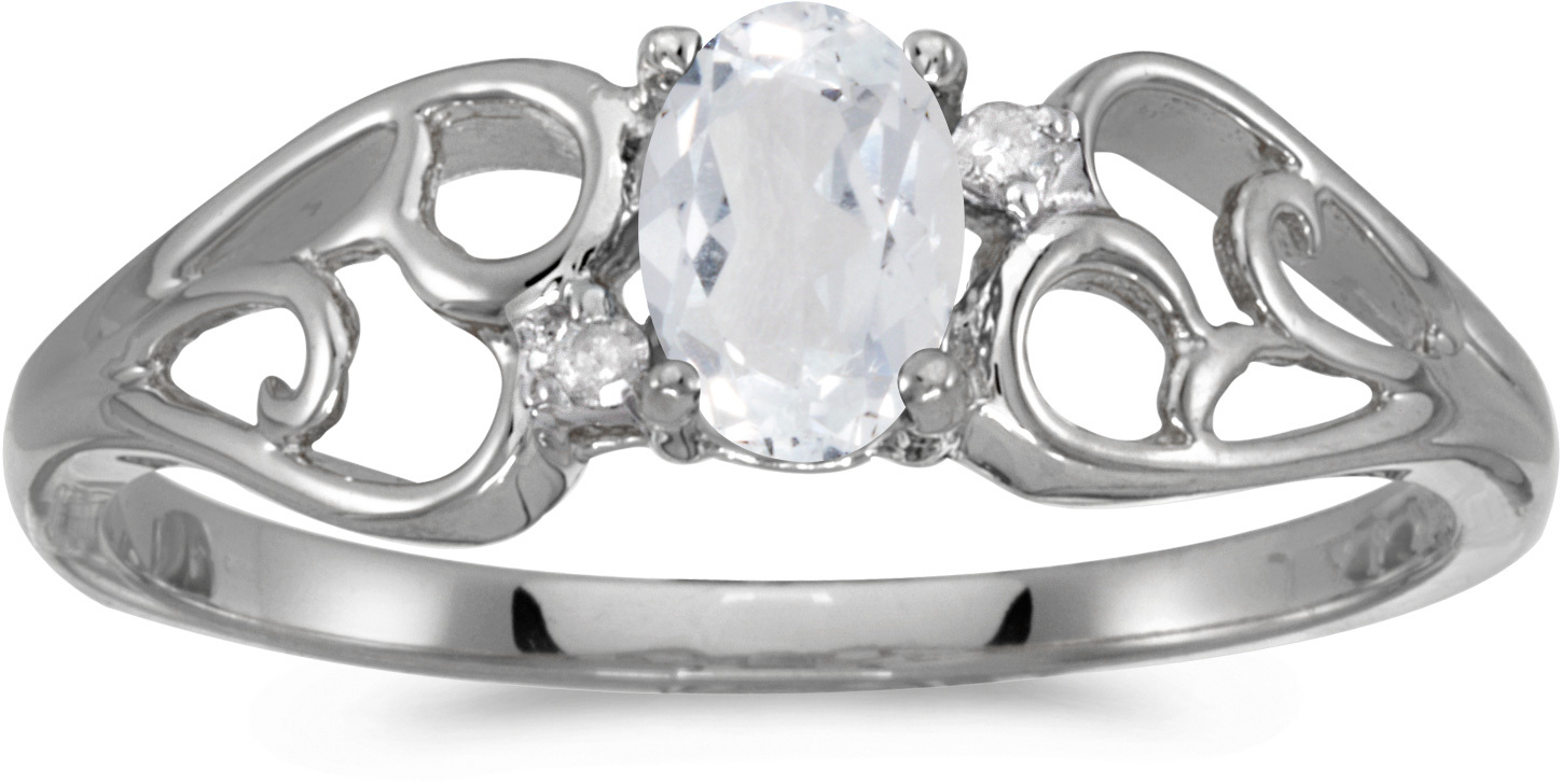 14k White Gold Oval White Topaz And Diamond Ring (CM-RM2582XW-04)