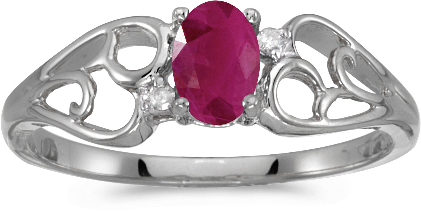 14k White Gold Oval Ruby And Diamond Ring (CM-RM2582XW-07)