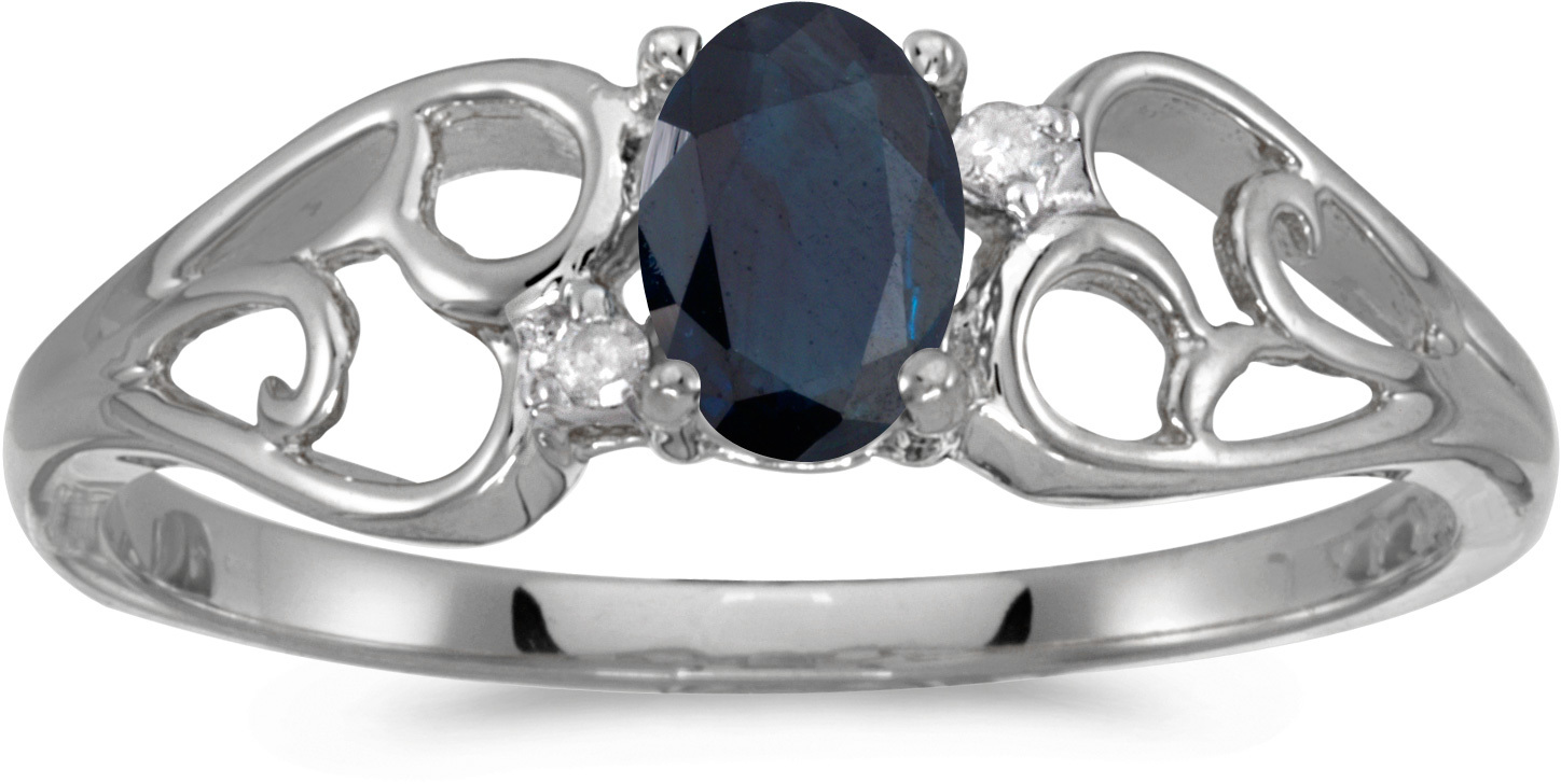 14k White Gold Oval Sapphire And Diamond Ring (CM-RM2582XW-09)