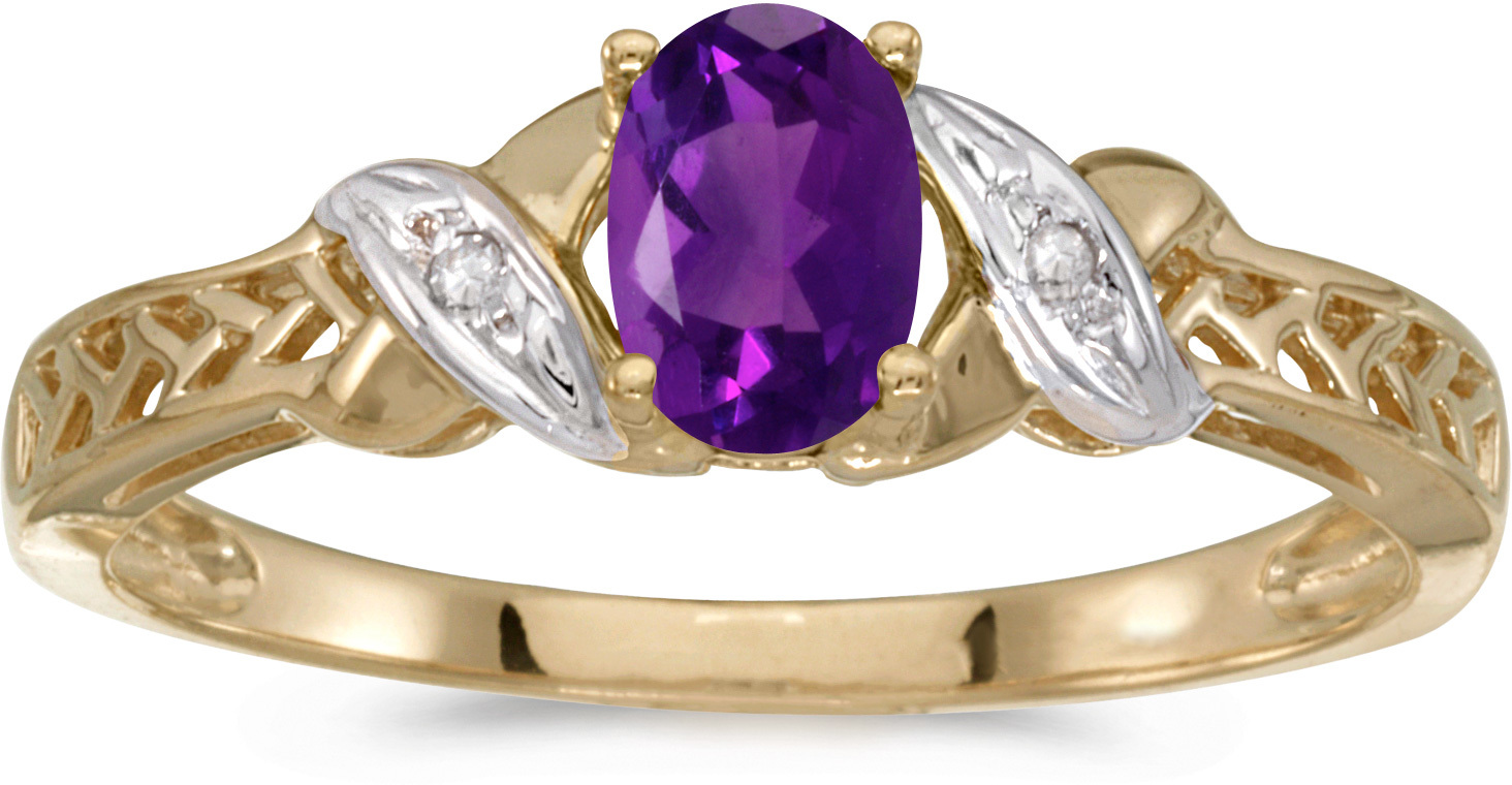 10k Yellow Gold Oval Amethyst And Diamond Ring (CM-RM2584-02)