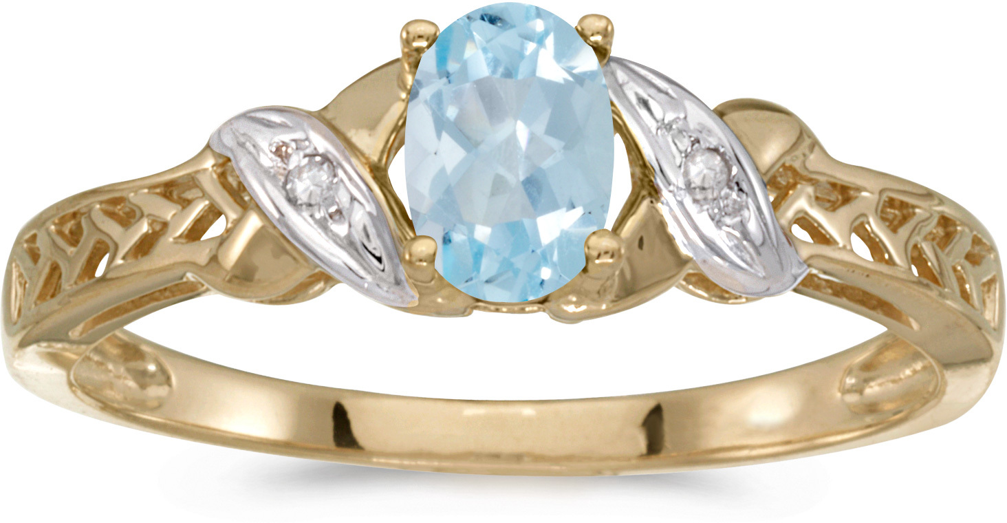 10k Yellow Gold Oval Aquamarine And Diamond Ring (CM-RM2584-03)