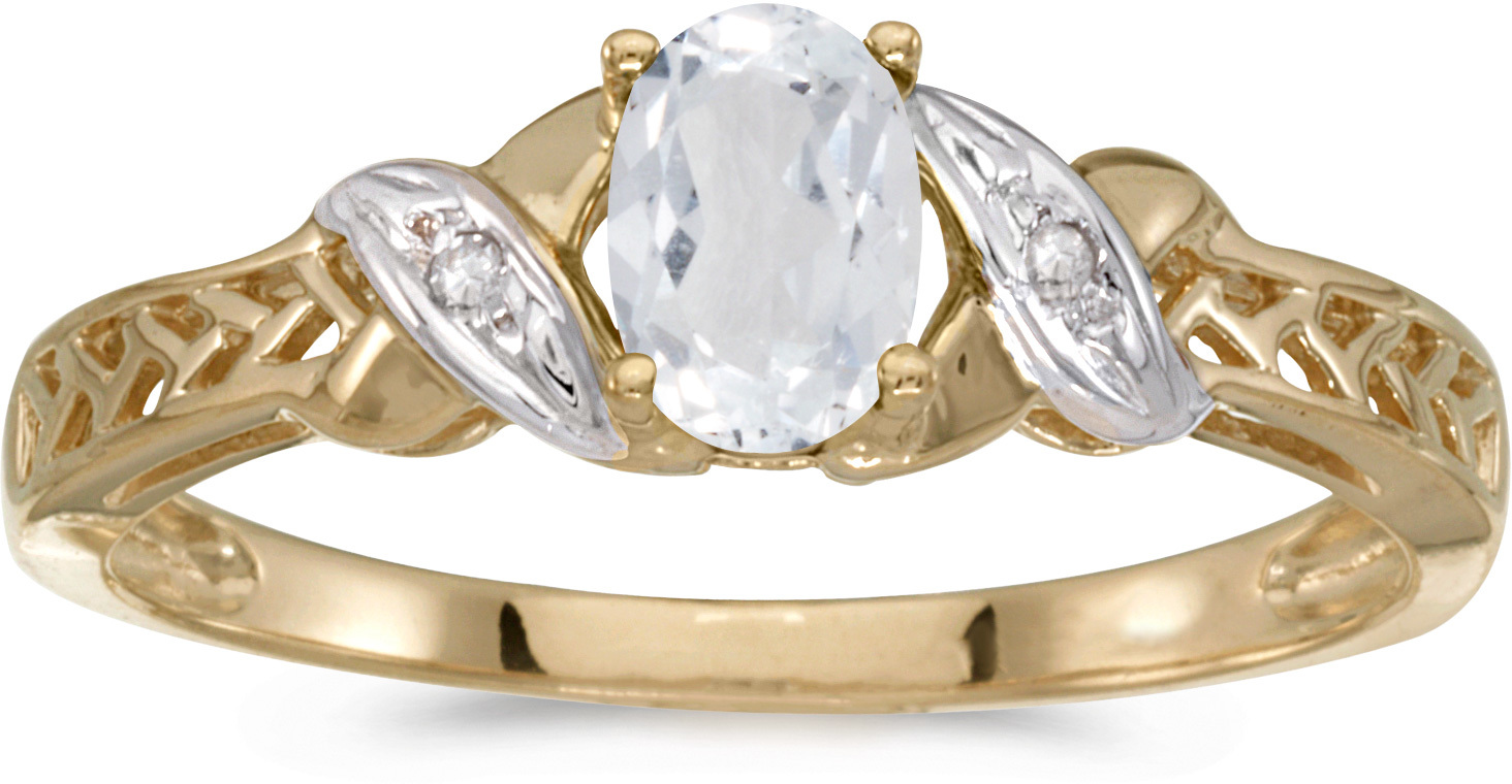 10k Yellow Gold Oval White Topaz And Diamond Ring (CM-RM2584-04)