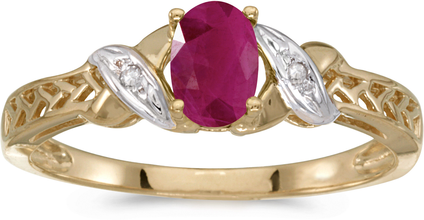 10k Yellow Gold Oval Ruby And Diamond Ring (CM-RM2584-07)