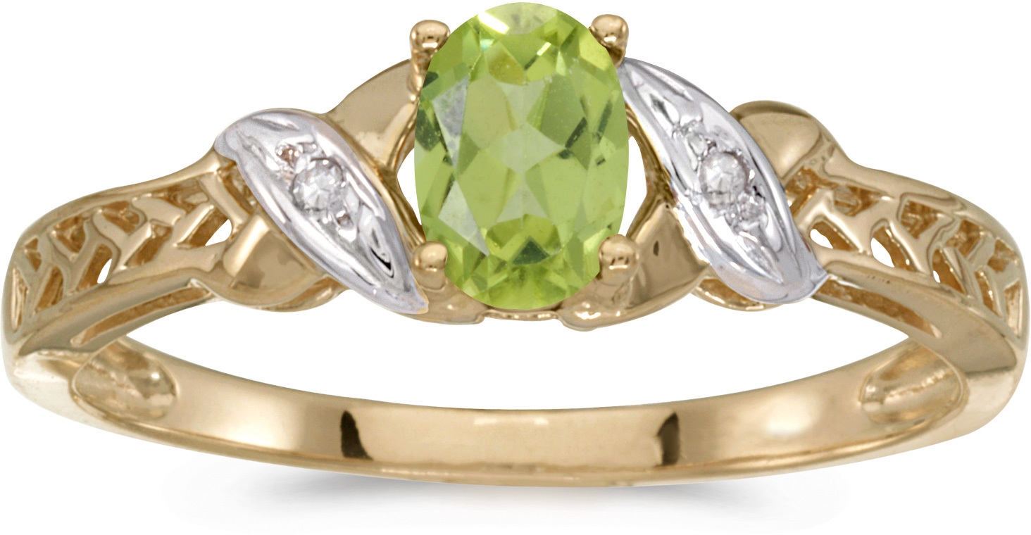 10k Yellow Gold Oval Peridot And Diamond Ring (CM-RM2584-08)
