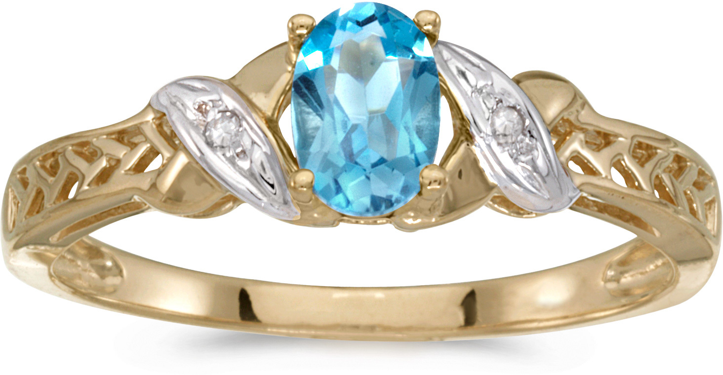 10k Yellow Gold Oval Blue Topaz And Diamond Ring (CM-RM2584-12)