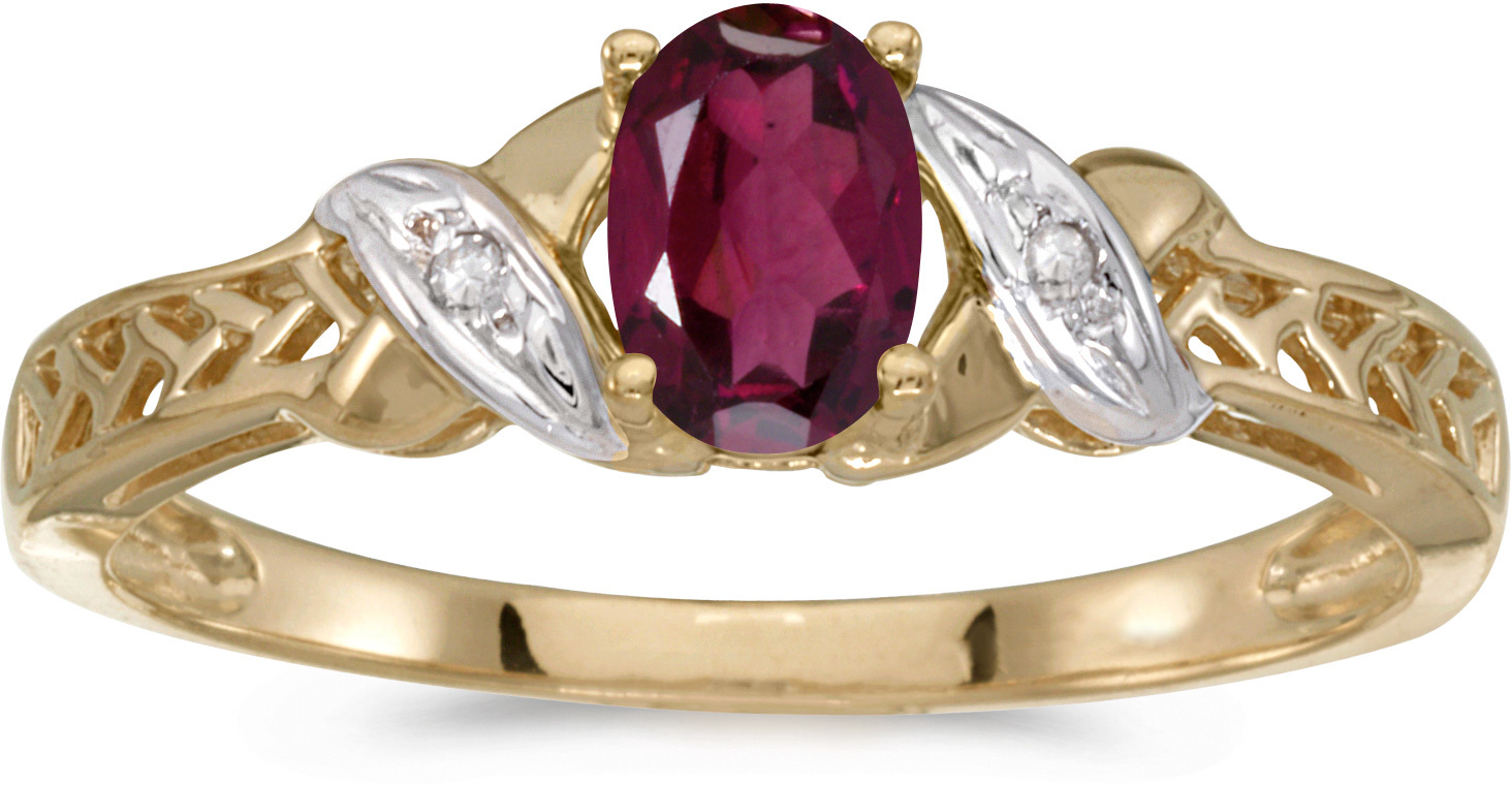 10k Yellow Gold Oval Rhodolite Garnet And Diamond Ring (CM-RM2584-RG)