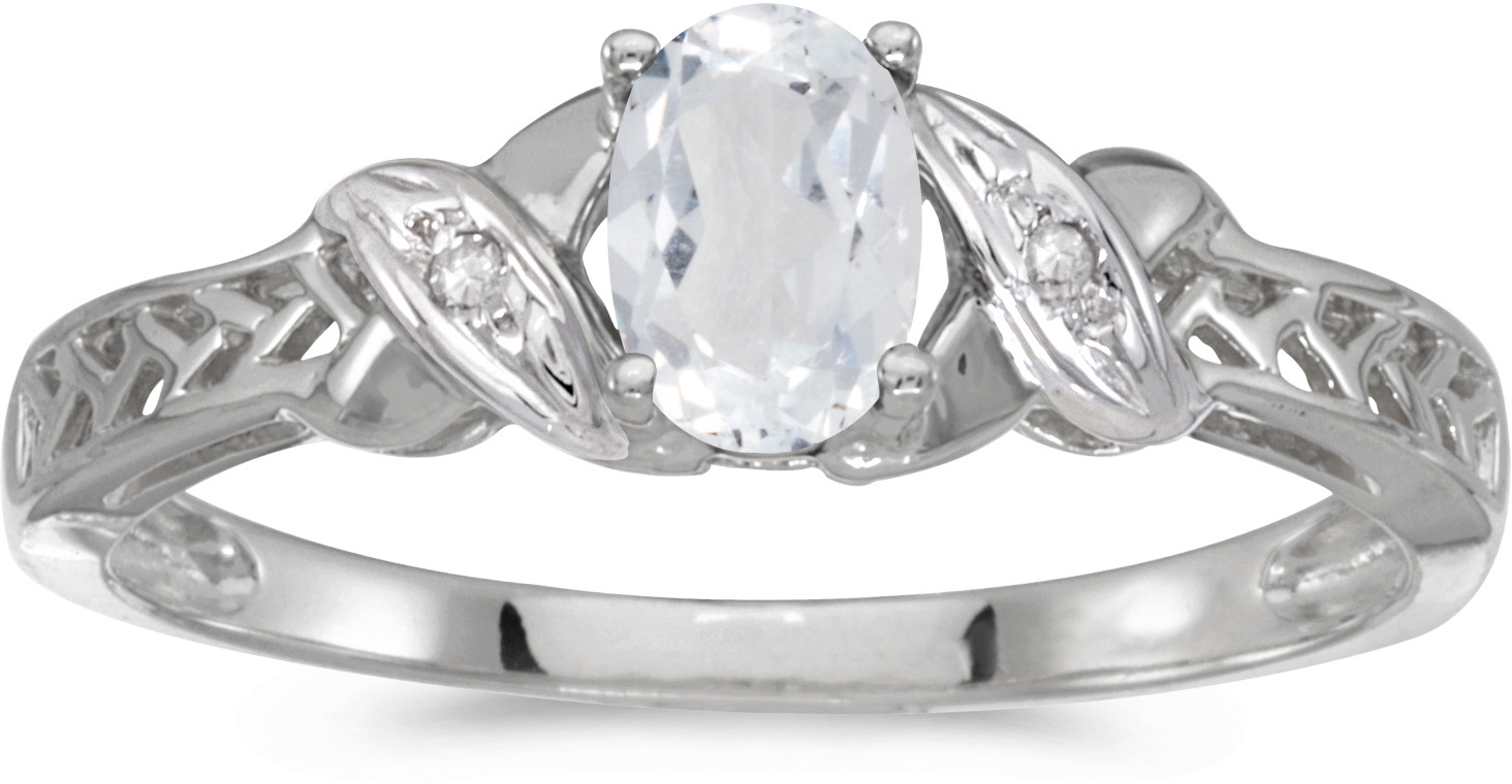 10k White Gold Oval White Topaz And Diamond Ring (CM-RM2584W-04)