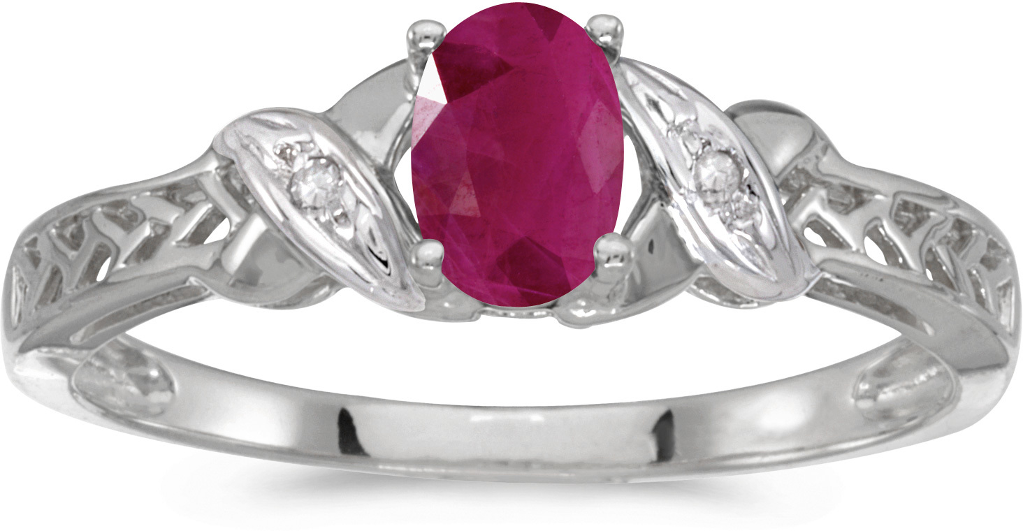 10k White Gold Oval Ruby And Diamond Ring (CM-RM2584W-07)
