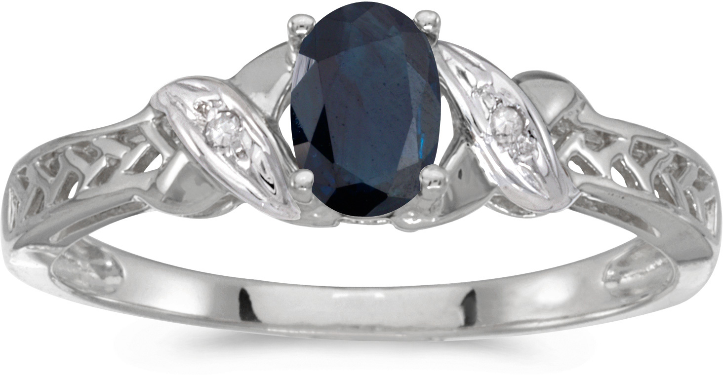 10k White Gold Oval Sapphire And Diamond Ring (CM-RM2584W-09)