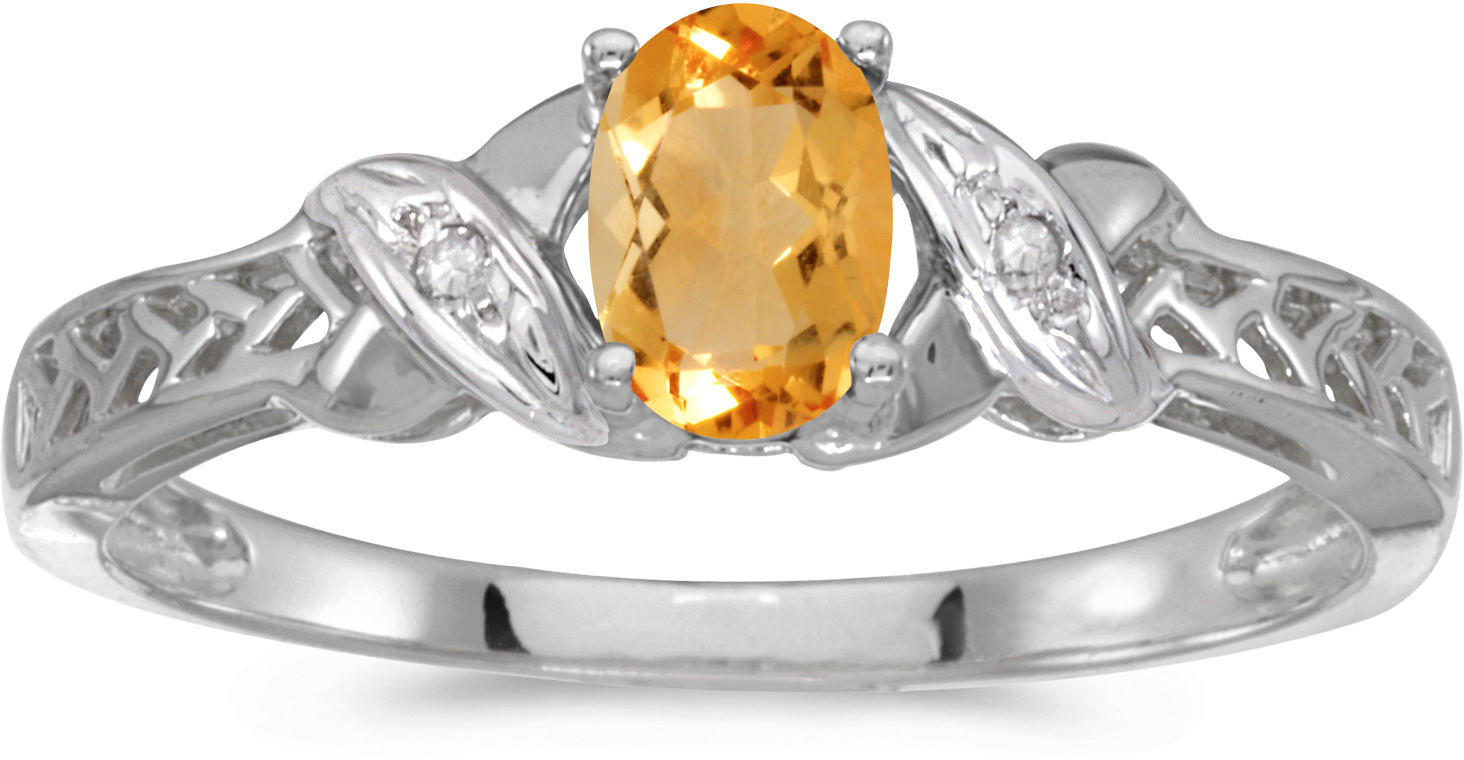 10k White Gold Oval Citrine And Diamond Ring (CM-RM2584W-11)