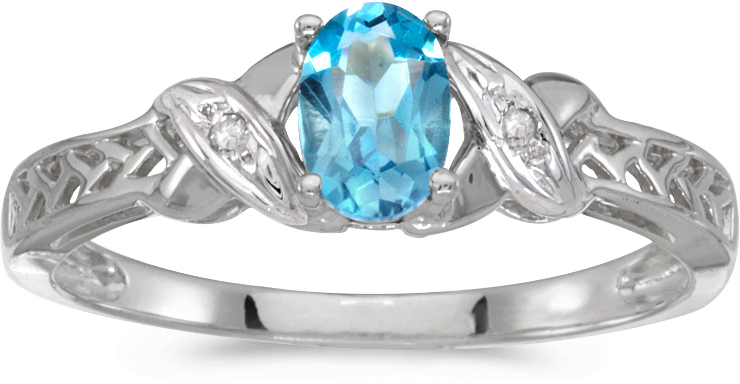 10k White Gold Oval Blue Topaz And Diamond Ring (CM-RM2584W-12)