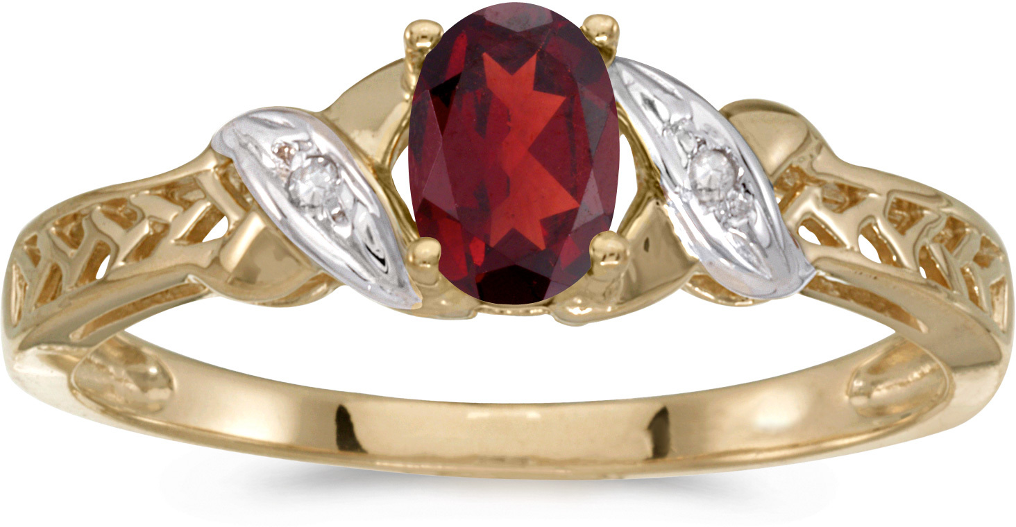 14k Yellow Gold Oval Garnet And Diamond Ring (CM-RM2584X-01)