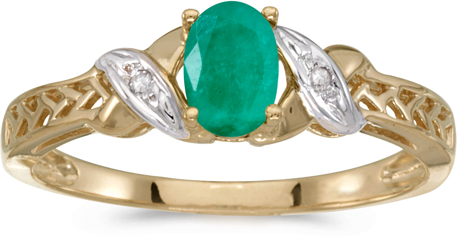 14k Yellow Gold Oval Emerald And Diamond Ring (CM-RM2584X-05)
