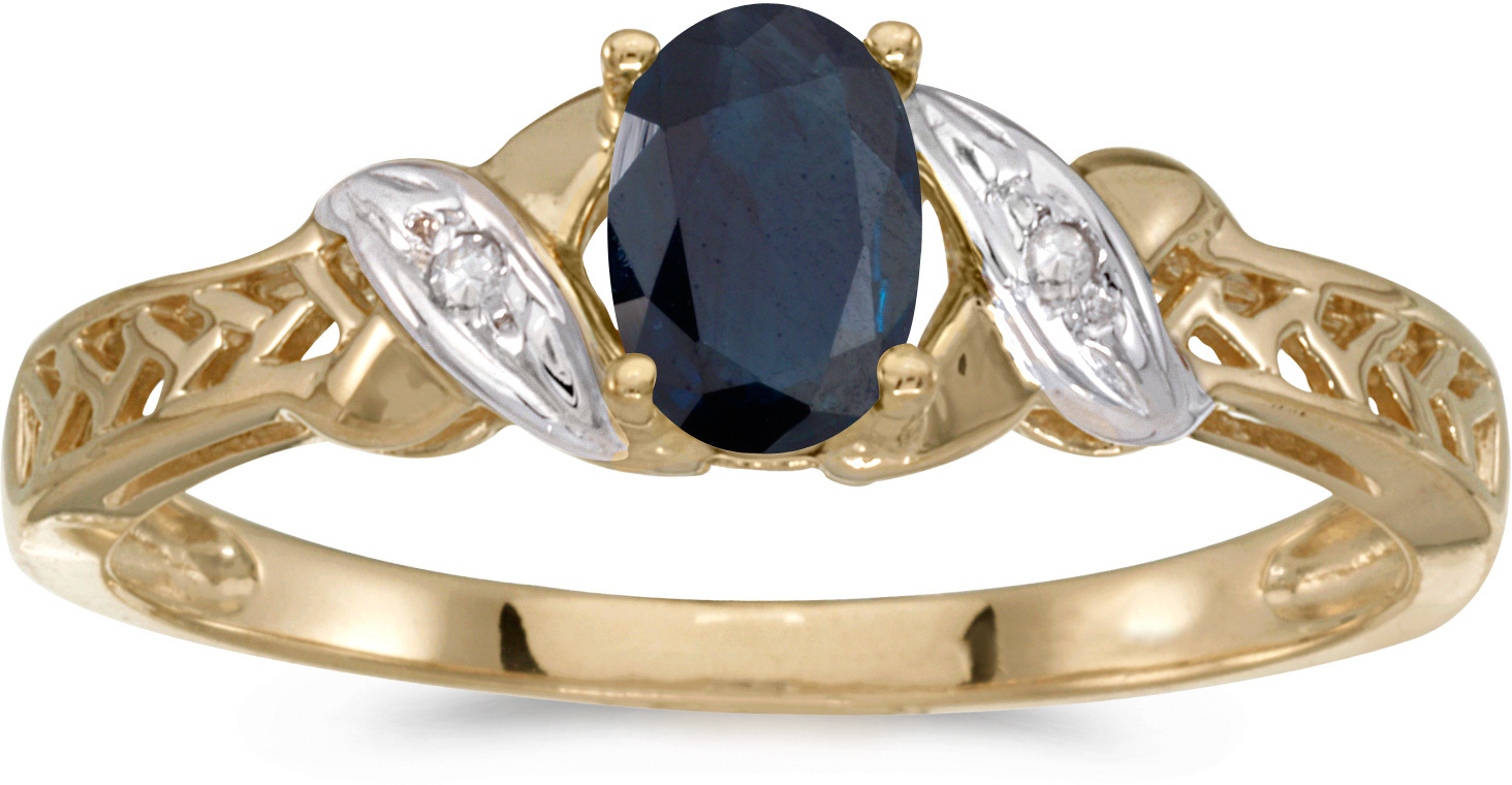 14k Yellow Gold Oval Sapphire And Diamond Ring (CM-RM2584X-09)