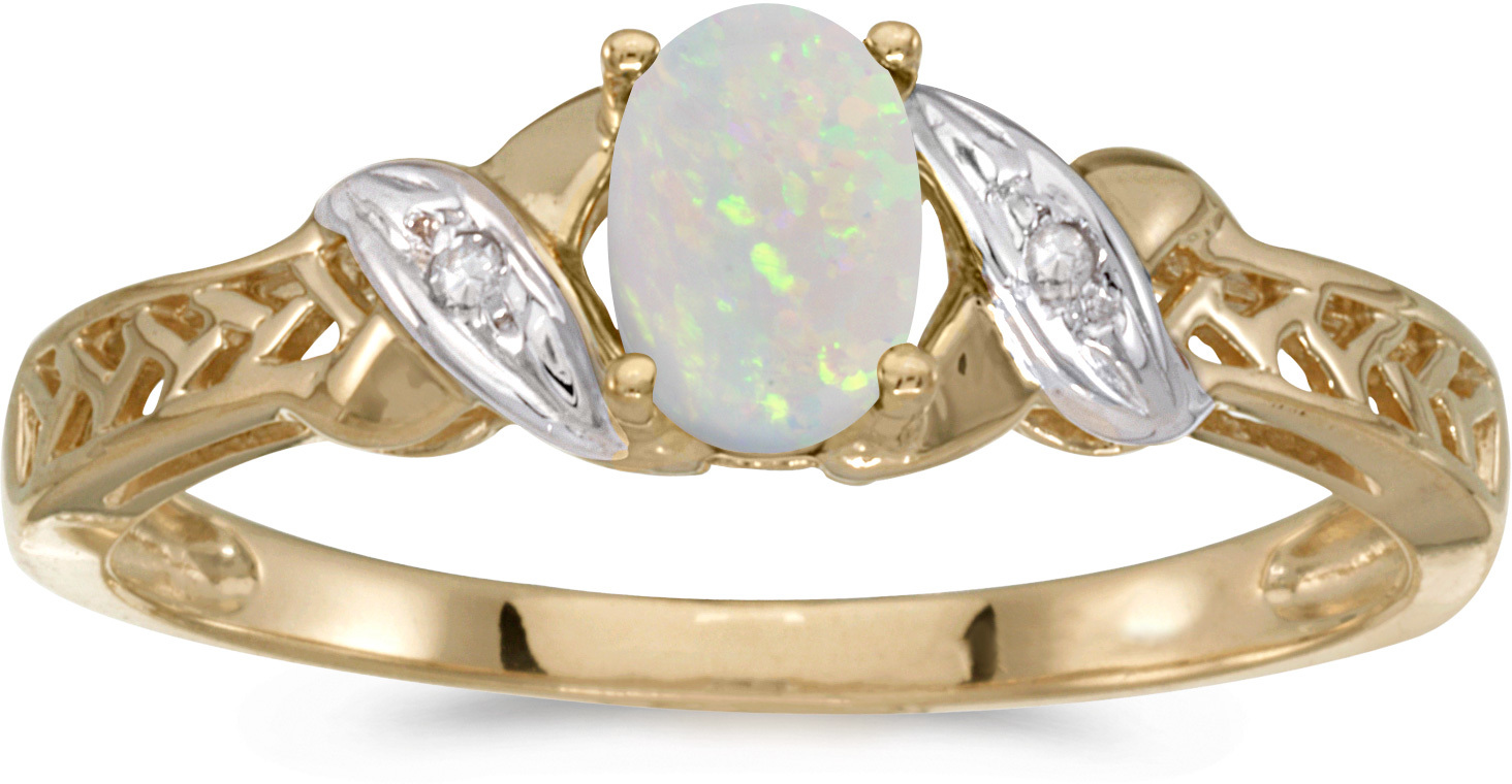 14k Yellow Gold Oval Opal And Diamond Ring (CM-RM2584X-10)