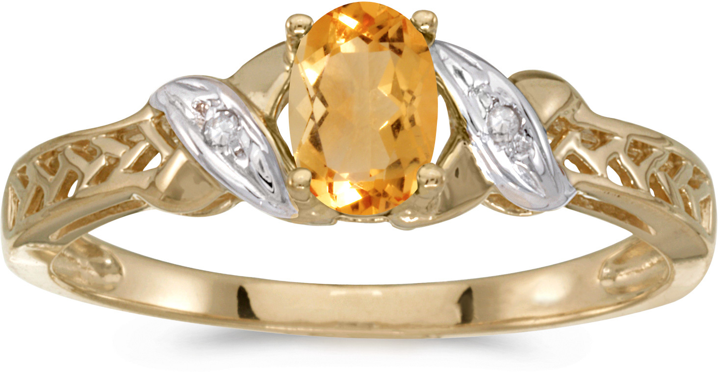 14k Yellow Gold Oval Citrine And Diamond Ring (CM-RM2584X-11)