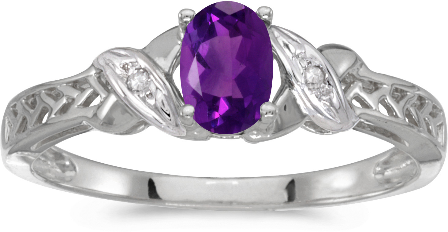 14k White Gold Oval Amethyst And Diamond Ring (CM-RM2584XW-02)