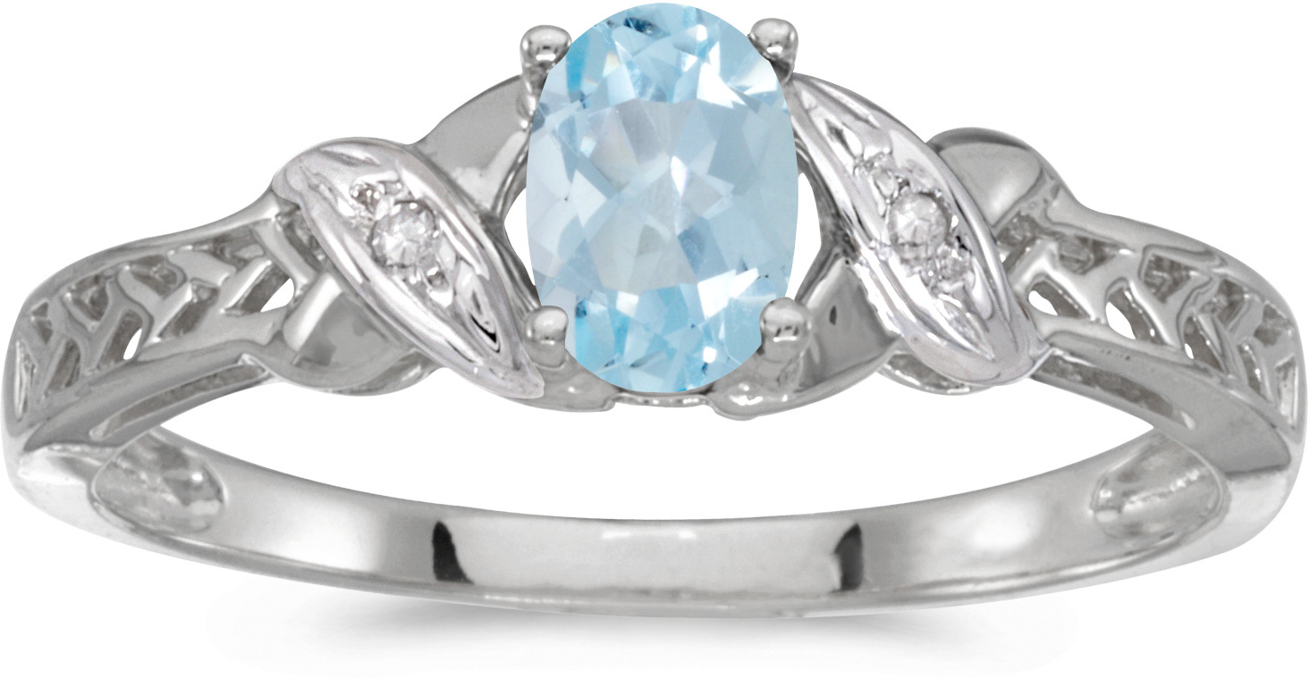 14k White Gold Oval Aquamarine And Diamond Ring (CM-RM2584XW-03)