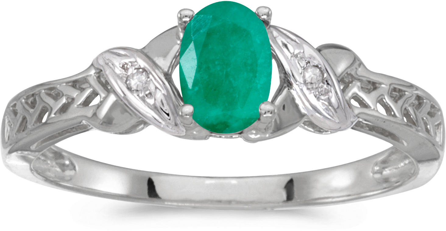 14k White Gold Oval Emerald And Diamond Ring (CM-RM2584XW-05)