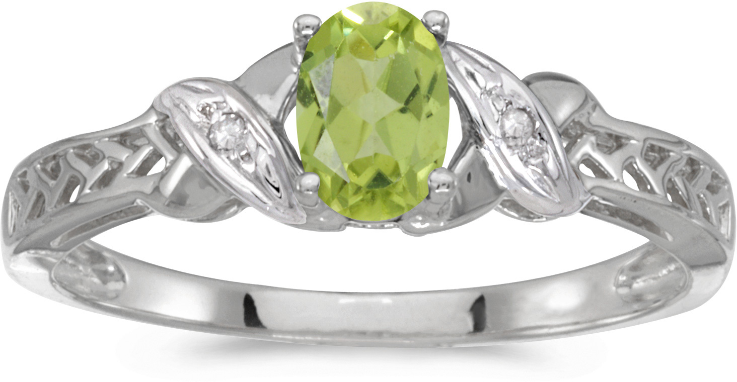 14k White Gold Oval Peridot And Diamond Ring (CM-RM2584XW-08)