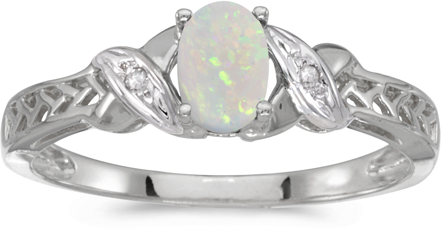 14k White Gold Oval Opal And Diamond Ring (CM-RM2584XW-10)