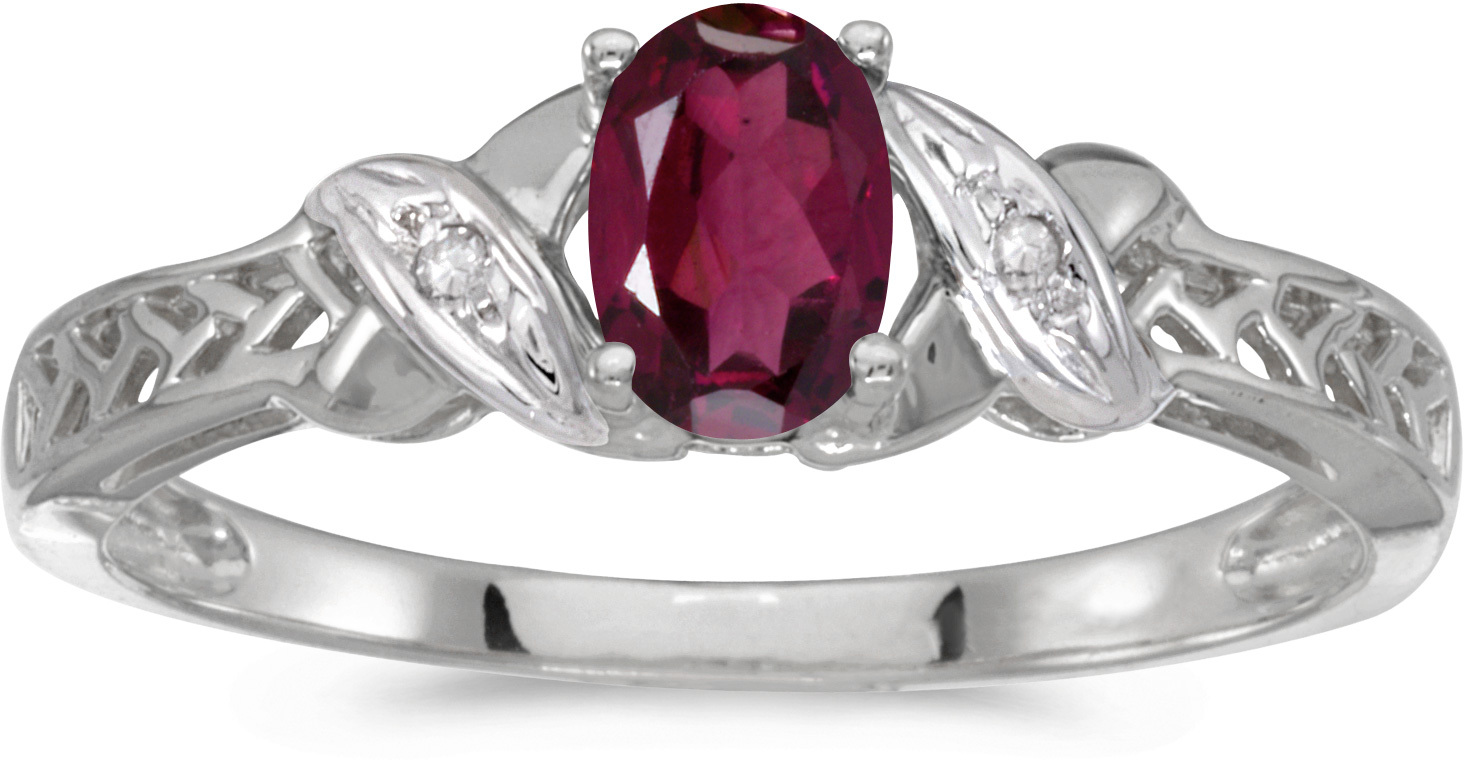 14k White Gold Oval Rhodolite Garnet And Diamond Ring (CM-RM2584XW-RG)