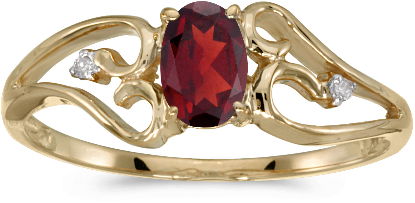 10k Yellow Gold Oval Garnet And Diamond Ring (CM-RM2585-01)