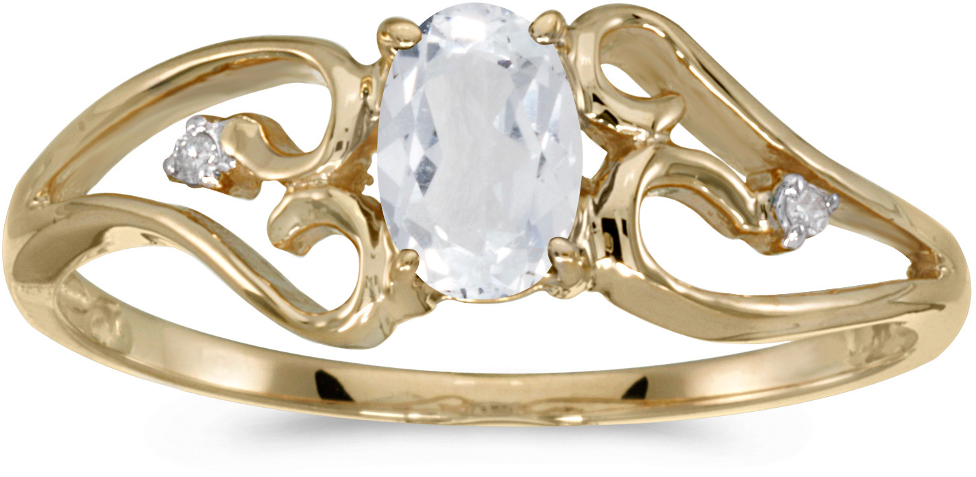 10k Yellow Gold Oval White Topaz And Diamond Ring (CM-RM2585-04)