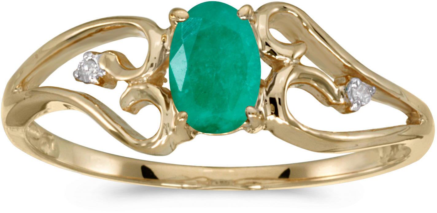 10k Yellow Gold Oval Emerald And Diamond Ring (CM-RM2585-05)
