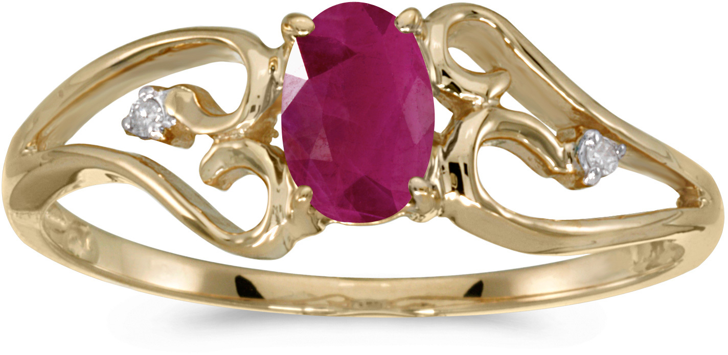 10k Yellow Gold Oval Ruby And Diamond Ring (CM-RM2585-07)