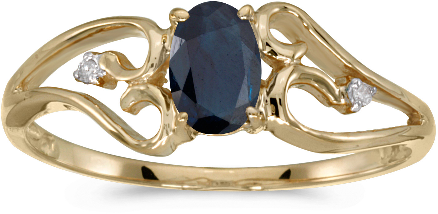 10k Yellow Gold Oval Sapphire And Diamond Ring (CM-RM2585-09)