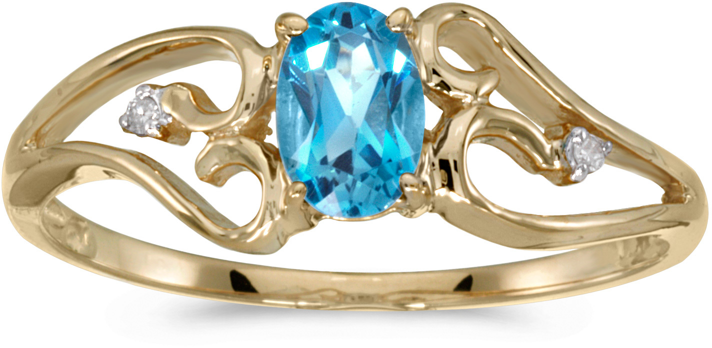 10k Yellow Gold Oval Blue Topaz And Diamond Ring (CM-RM2585-12)