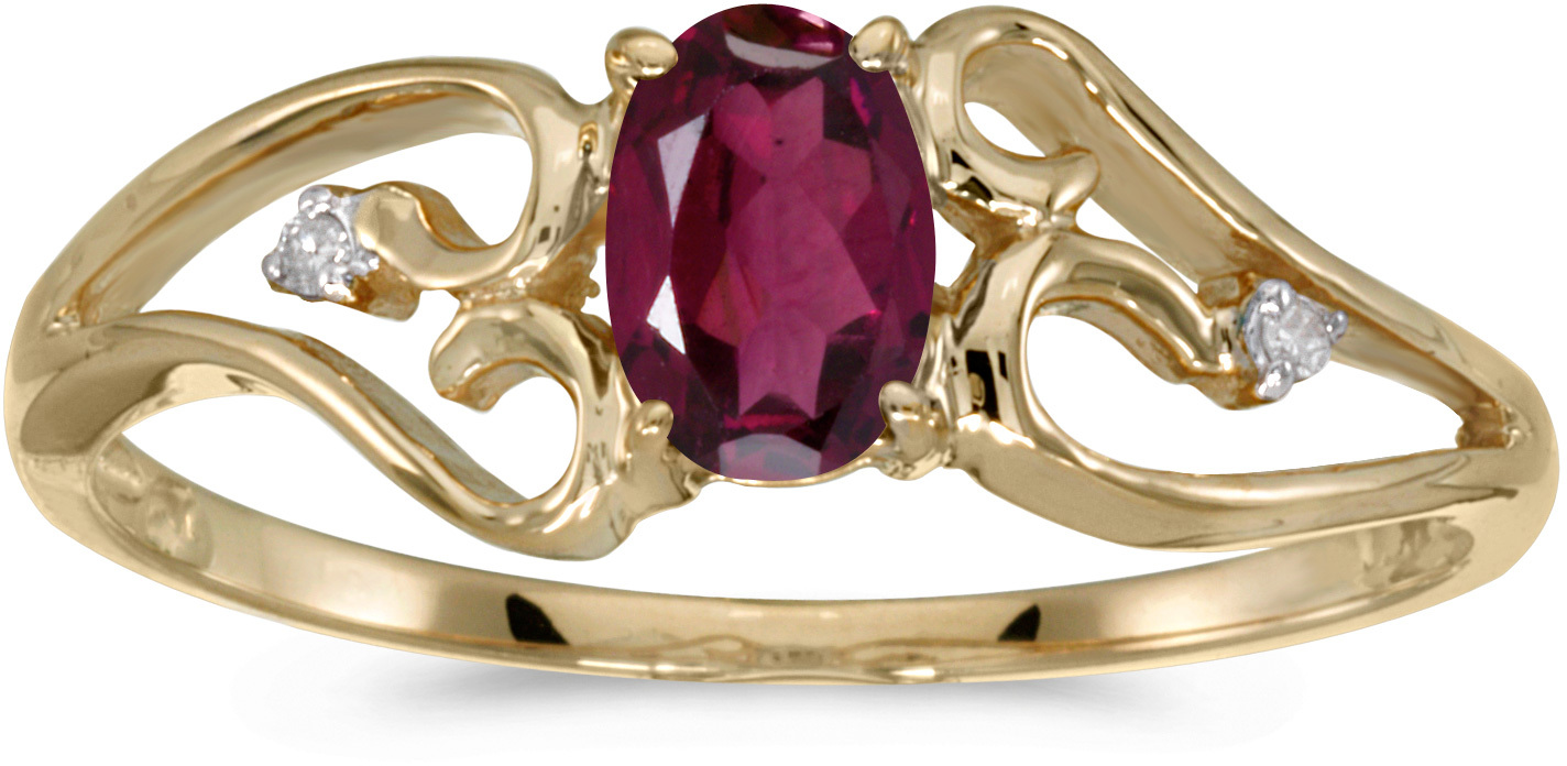 10k Yellow Gold Oval Rhodolite Garnet And Diamond Ring (CM-RM2585-RG)