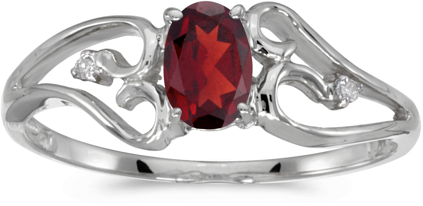 10k White Gold Oval Garnet And Diamond Ring (CM-RM2585W-01)