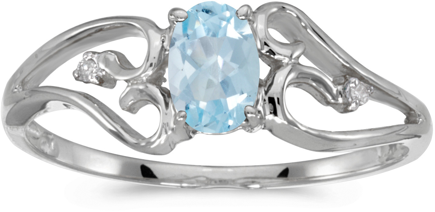 10k White Gold Oval Aquamarine And Diamond Ring (CM-RM2585W-03)