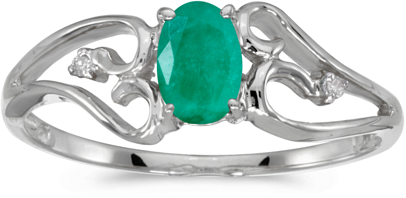 10k White Gold Oval Emerald And Diamond Ring (CM-RM2585W-05)