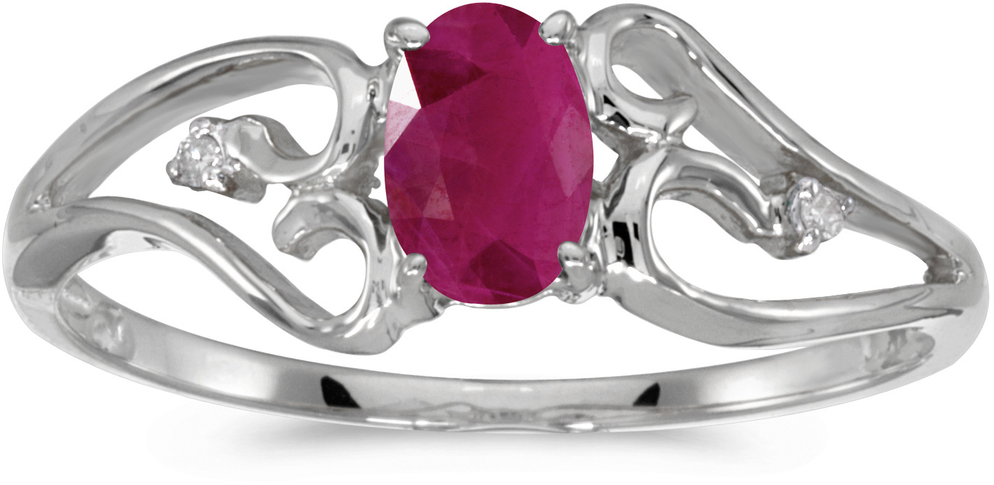 10k White Gold Oval Ruby And Diamond Ring (CM-RM2585W-07)