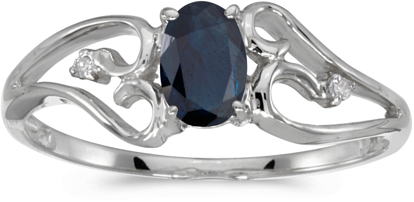 10k White Gold Oval Sapphire And Diamond Ring (CM-RM2585W-09)