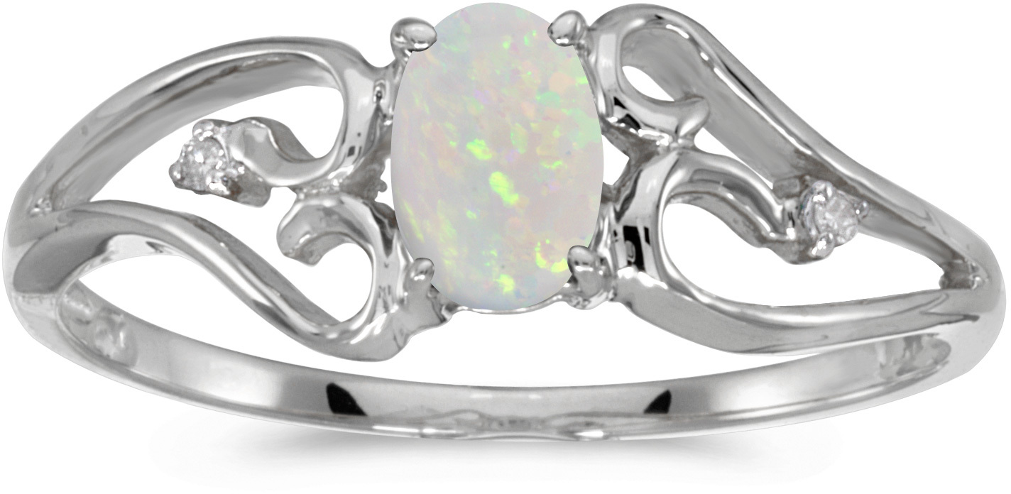10k White Gold Oval Opal And Diamond Ring (CM-RM2585W-10)