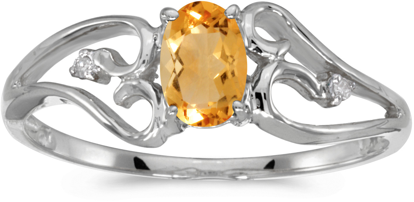 10k White Gold Oval Citrine And Diamond Ring (CM-RM2585W-11)
