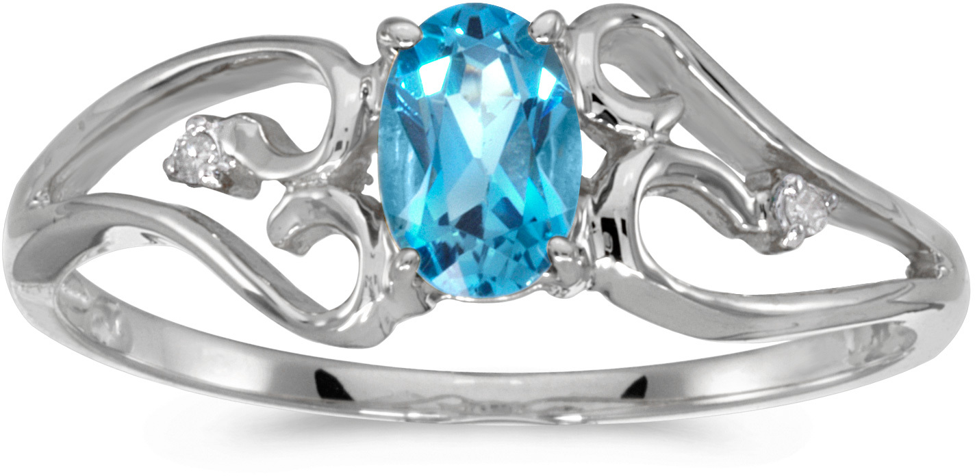 10k White Gold Oval Blue Topaz And Diamond Ring (CM-RM2585W-12)
