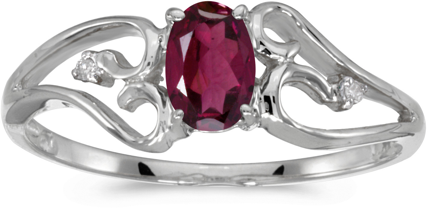10k White Gold Oval Rhodolite Garnet And Diamond Ring (CM-RM2585W-RG)